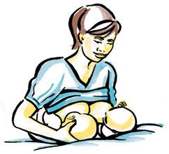 posição para amamentar gêmeos
